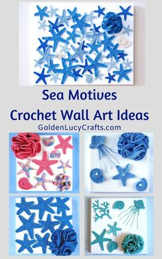 In this post you will find beautiful crochet wall arts inspired by the sea. Sea shells, star fish and corals will remind you about the beach and ocean. Diy Crochet Wall Hanging, Crochet Wall Art, Crochet Fish, Crochet Wall Hangings, Crochet Mermaid, Crochet Home Decor, Crochet Motif, Crochet Appliques