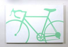 Too much money! I want to make one :-)  Mint Green Sea Foam Colored Road Bike Painting by VintageWestCoast, $195.00