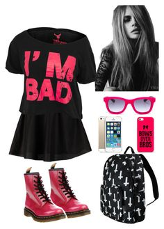 """""""Rock Teen Outfit For School"""" by ccontoyanni ❤ liked on Polyvore featuring ONLY, Dr. Martens and Italia Independent"""