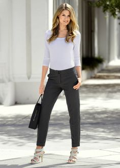 ankle pants and heels.