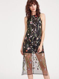 Shop Black Embroidered Mesh Overlay Sleeveless Dress online. SheIn offers Black Embroidered Mesh Overlay Sleeveless Dress & more to fit your fashionable needs.