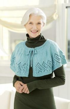 Free pattern download for Lacy Knit Capelet @ Red Heart