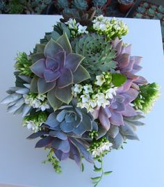 Succulent Wedding Bouquet, Succulent Bridesmaid Bouquet via Etsy