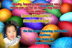 A Easter Eggs Invitations Easter Invitations, Diy Invitations, Elizabeth First, Printing Services, Easter Eggs, First Birthdays, Software, Prints, Fun