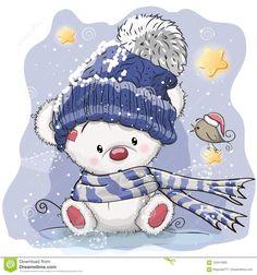 Foto acerca Tarjeta de Navidad del saludo con el oso polar de la historieta - 103474905