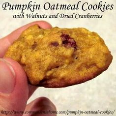 Pumpkin cookies with almond and cranberries