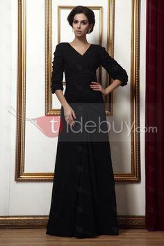 ファッションなVネック 半袖 床までの長さ 花嫁さんの母ドレス