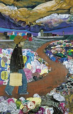 Juanito Laguna going to the factory, 1977, materiales varios, 180 x 120 cm. Col. privada