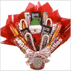 "candy bouquet for christmas made by kids | ... Santa Says ..."" Holiday Candy Bouquet - A Christmas Gift Basket idea"
