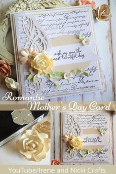 A Mother's Day Card using Tonic Studios Craft Kit Die. Craft Kits, Flourish, Irene, Studios, Canvas Art, Paper Crafts, Romantic, Day, Projects