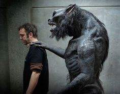 Make-up and creature effects coordinator Nicholas Podbrey and one of the Lycans, created by Todd Masters and his team from MASTERSFX for Underworld: Awakening in 2012.