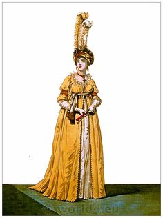 Evening dress, March 1796. Gallery of Fashion. Published by Nikolaus von Heideloff, London.