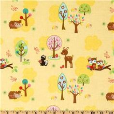 """Hoo's In The Forest Critters in Yellow""  Super cute!! I would totally make a nook cover out of this."