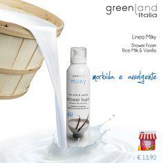 Linea Milky di Greenland, Shower Foam Rice Milk & Vanilla | Una mousse doccia dalla texture morbida e delicata sulla pelle. La combinazione aromatica di latte di riso e vaniglia è calda, ricca e leggermente esotica.