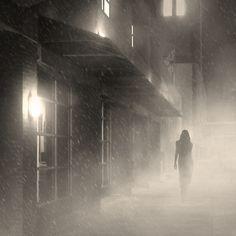 Woman in fog. (Detail from http://www.behance.net/gallery/A-Tribute-to-Film-Noir/569167 )