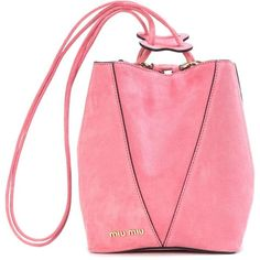 Miu Miu Suede Bucket Bag ($1,320) ❤ liked on Polyvore featuring bags, handbags, shoulder bags, pink, suede purse, pink bucket bag, suede leather handbags, miu miu and pink purse