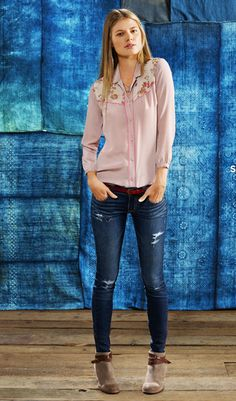jeans, loose blouse    american eagle outfitters