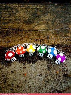 Mario mushroom charms
