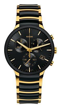 RADO Centrix Chronograph, black high-tech ceramic & yellow gold PVD watch. Made in Switzerland. R30134162. Authorized Rado Dealer. Free CDN shipping