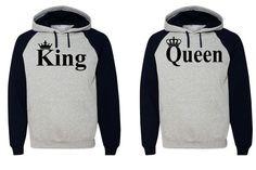 King Queen Hoodie Couple Hooded Sweatshirt Boyfriend,Girlfriend Hoodie in Clothing, Shoes & Accessories | eBay