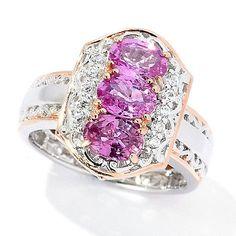 169-306 - Gems en Vogue  2.09ctw Pink  Sapphire & White  Zircon 3-Stone  Cluster Ring