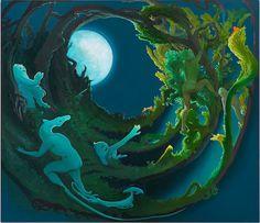 Inka Essenhigh. Moon Creatures, 2014, 72 x 62 inches, oil on linen. Courtesy Baldwin Gallery, © Inka Essenhigh.