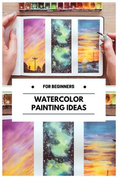 In this video I will show you 3 easy watercolor painting ideas for beginners step by step that you can use to practice the basic watercolor painting technique: wet in wet! I will show you how to paint different types of sunsets such as an ocean sunset & how to paint a galaxy with watercolors!