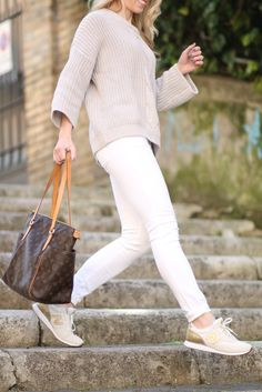 { Fresh Neutrals: Gray cable sweater, White ankle jeans & New Balance sneakers }