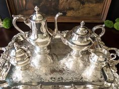 Vintage Silver Plate Tea Set With Tray Coffee Service Set Poole Silver Co by InventifDesigns on Etsy