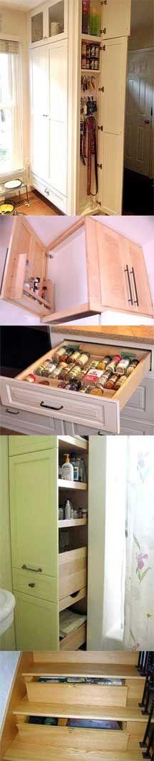 great idea for side of kitchen cabinet we now have beside the wall oven! hide cook books etc... Check out these hidden storage spots!