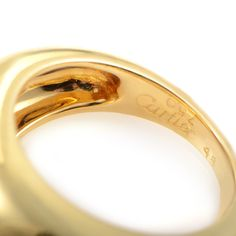 Cartier Diamond Gold Band Ring | From a unique collection of vintage band rings at https://www.1stdibs.com/jewelry/rings/band-rings/