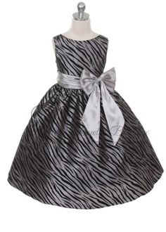 SIZE 4T IN STOCK - KD - Little Girls Silver & Black Animal Print Flower Girl Dress