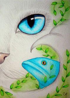 Art: White Mermaid Cat 5 by Artist Cyra R. I Love Cats, Cool Cats, Mermaid Cat, Gatos Cats, Cat Cards, Eye Art, Cat Drawing, Pretty Cats, Art Portfolio