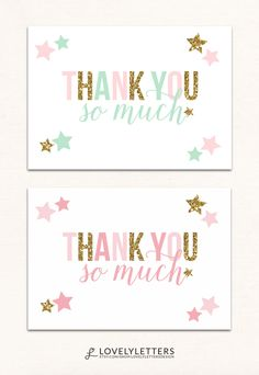 Twinkle Little Star Thank You Card / Twinkle Thank You Card / Stars Thank You Card designed by Lovely Letters Design lovelylettersdesign.com