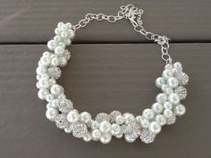 Chunky White Pearl and Rhinestone Statement Necklace Bridesmaid Necklace Bridal Jewelry Wedding Necklace