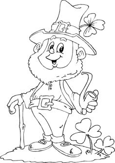 leprechaun holding pipe coloring page - coloring.com