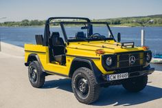 Spectacular Mercedes GD 240 CABRIO yellow for sale. Amg Logo, Mercedes G Wagen, Benz G Class, Armored Truck, Mercedes Benz Models, Classic Mercedes, Off Road, G Wagon, Supercars