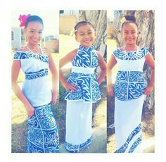 Beautiful puletasi designed in different cuts, but, same material pattern for flower girls. Samoan Designs, Polynesian Designs, Island Wear, Island Outfit, Samoan Dress, Island Style Clothing, Tapas, Girl Outfits, Fashion Outfits