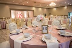blush and ivory wedding décor with floral arrangements