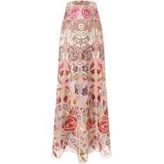 Temperley London Blush Embroidered Long Silk Tulle Skirt (€455) ❤ liked on Polyvore featuring skirts, bottoms, long evening skirts, long pink skirt, floral maxi skirt, long skirts and tulle skirts