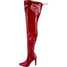 Pre-owned Stuart Weitzman Highland Thigh-High Boots ($325) ❤ liked on Polyvore featuring shoes, boots, red, patent boots, red boots, patent leather boots, red zipper boots and above the knee boots