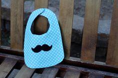 First Birthday Bib Aqua Dots Black Mustache by LittleStitchinLu, $13.50