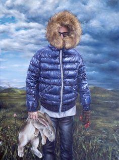 """David Lihard """"Le civet"""", huile sur toile, 130 x 97 cm, 2012"""