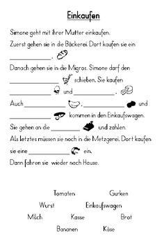 Fill in the text 04 (shopping), Writing Practice For Kids, German Grammar, German Language Learning, Grammar And Vocabulary, Learn German, Home Schooling, Reading Comprehension, Teaching Resources, Words