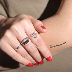Noir Et Bleu Étanche Tatouages diamant Faux Tatoo Autocollants Hommes et Femmes Amateurs Doigt Tatouage bras Body Art 2016 maintenant chaude