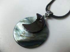 Hematite Moon and Shell Pendant Necklace Self by SerendipityWorld, $11.00