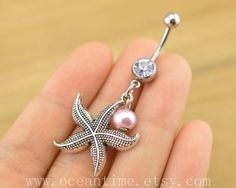 starfish Belly Button jewelry, starfish belly button ring,starfish Navel Jewelry,pearl bellyring friendship belly button from OceanTime on Etsy. Belly Button Piercing Rings, Bellybutton Piercings, Belly Button Jewelry, Cute Piercings, Body Piercing, I Love Jewelry, Pearl Jewelry, Body Jewelry, Jewlery