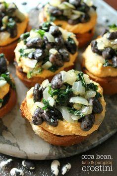 The Kitchen Prep: Orca Bean, Kale & Pumpkin Crostini | Bob's Red Mill + Stonyfield Organic
