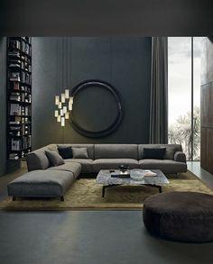 idee de deco salon, étagère bibliothèque murale, lampes suspendues, peinture murale anthracite