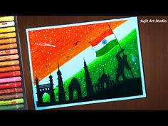Independence Day drawing (Very Easy) with Oil Pastels for beginners - step by step - YouTube